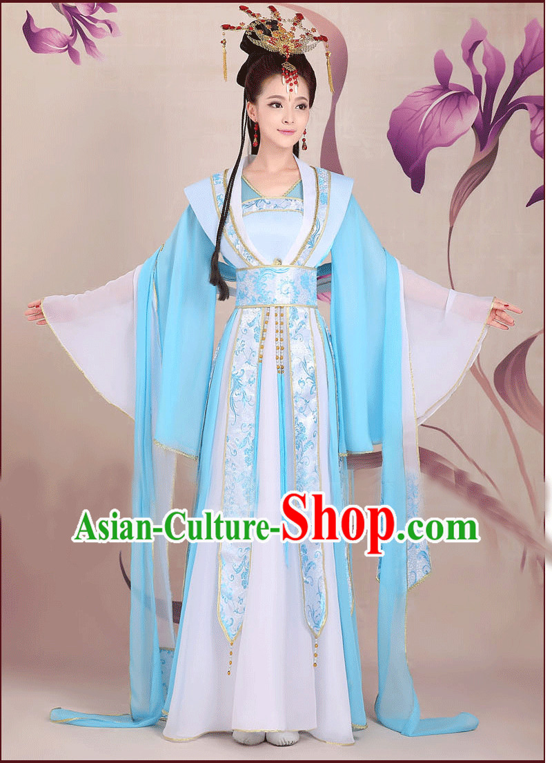 Ancient Chinese Wide Sleeves Classical Group Dancer Costumes Complete Set for Women