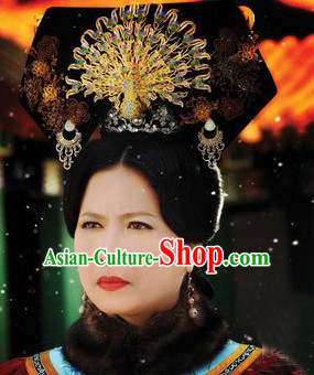 China Qing Dynasty Imperial Royal Quene Hairpins Hair Accessories Hairstyle Wigs Chinese Oriental Hairstyles Headpieces