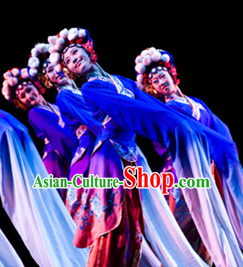 Chinese Opera Style Long Sleeves Folk Dance Dress Clothing Dresses Costume Ethnic Dancing Cultural Dances Costumes Complete Set for Women