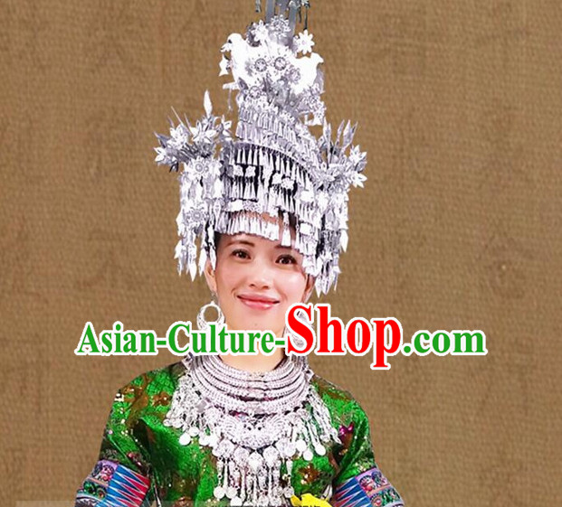 Chinese Miao Silver Folk Ethnic Hat for Women