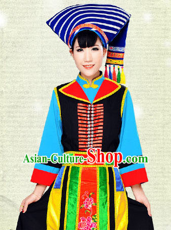 Chinese Hmong Minority Nationality Ethnic Groups Wear Dresses Traditional Clothing for Women