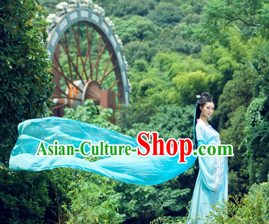 Green Color Chinese Traditional Dancer Costumes Complete Set
