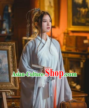 Grey Color Chinese Traditional Han Fu Costumes Complete Set