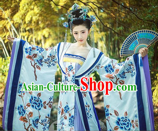 Top Blue White Chinese Imperial Royal Princess Traditional Wear Queen Dresses Fairy Cosplay Costumes Ideas Asian Cosplay Supplies Complete Set