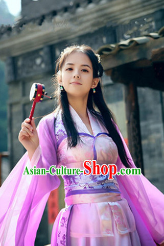 Chinese Traditional Pink Fairy Dance Costumes Complete Set for Women