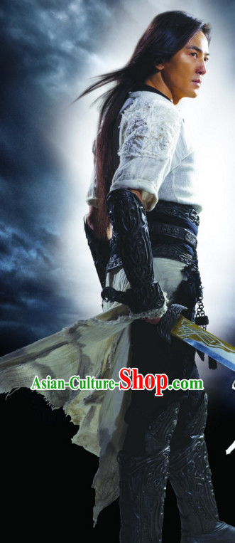 Chinese Ancient Martial Arts Master Costumes Suit Complete Set for Men