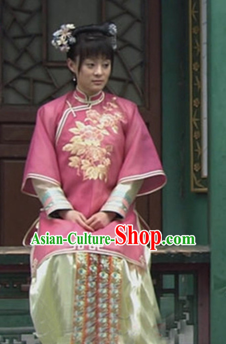Qing Dynasty Imperial Clothing and Hair Accessories Complete Set for Women