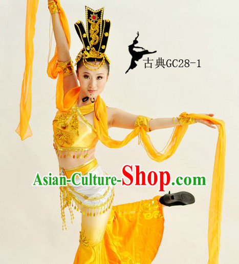 Traditional Chinese Classical Long Sleeves Dance Costumes for Girls