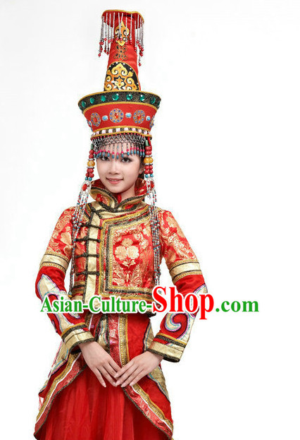 Traditional Chinese Ethnic Mongolian Dance Costumes for Girls