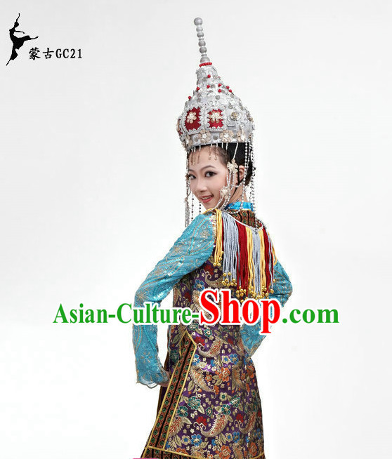 Traditional Chinese Stage Performance Ethnic Mongolian Dancing Costumes for Women Girls