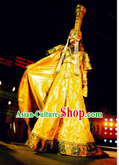 Traditional Mongolian Clothing Ancient Ethnic Queen Wedding Garment and Hat Complete Set for Women