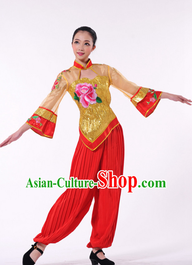 Traditional Chinese Fan Dancer Costume for Women
