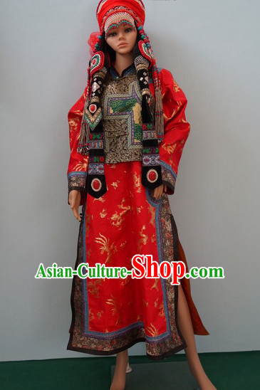 Traditional Chinese Mongolian Wedding Clothes Complete Set for Women