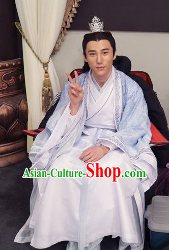 Ancient Chinese Traditional Swordsman Hanfu Clothing and Hair Accessories Complete Set for Men