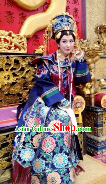Traditional Chinese Qing Dynasty Imperial Palace Queen Costumes and Hair Accessories Complete Set for Women Girls Kids Adults