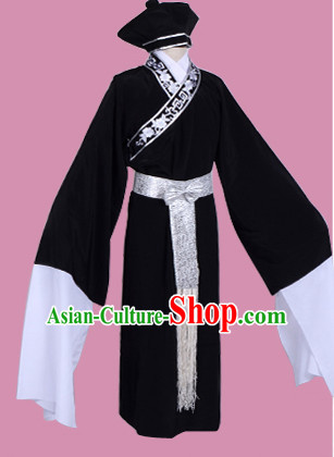 Black Chinese Opera Costumes Huangmei Opera Stage Performance Costume Chinese Traditional Costume Drama Costumes and Hat Complete Set for Men
