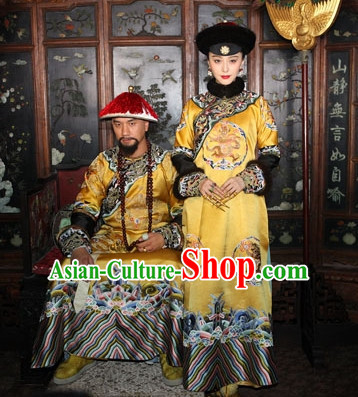 Traditional Chinese Qing Dynasty Imperial Palace Empress Costumes and Hair Accessories Complete Set for Women Girls Kids Adults