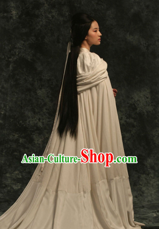 Ancient Chinese Empress White Hanfu Han Fu Clothing and Mantle Complete Set for Women