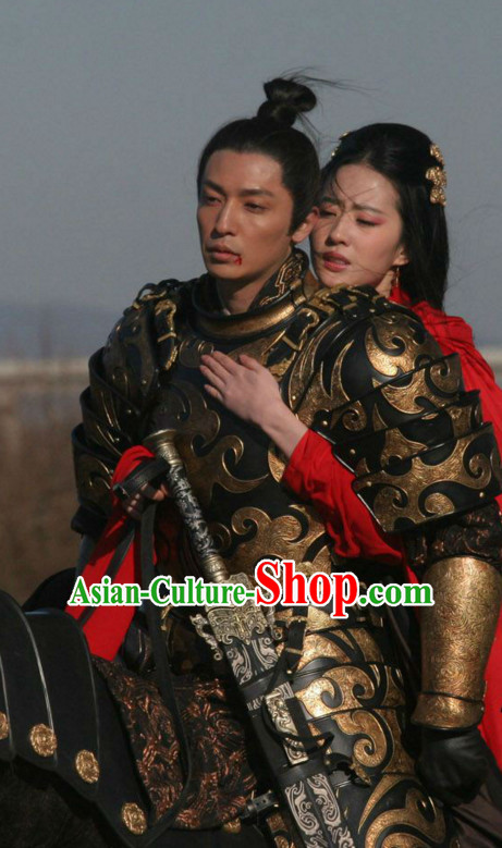 Ancient Chinese General Armor Body Costumes Hanfu Han Fu Clothing Complete Set
