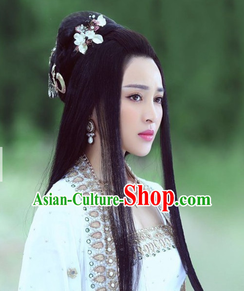 Chinese Ancient Handmade Hair Jewelry and Black Long Wigs for Women