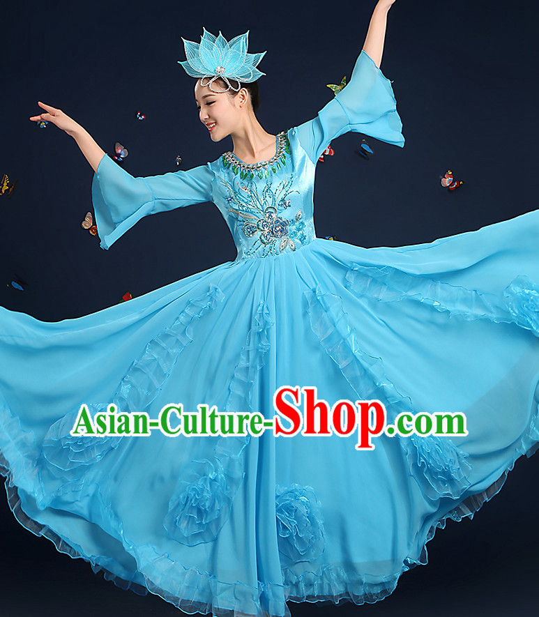 Chinese Fan Dance Costumes and Headpieces Complete Set for Women