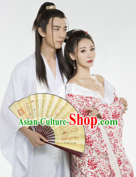 Top Chinese Traditional Halloween Sexy Han Fu Costumes 2 Sets for Couple