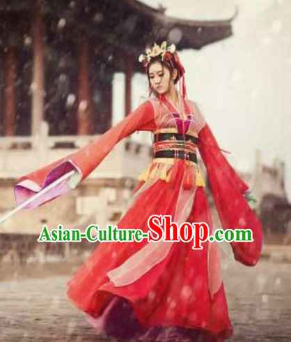Top Chinese Traditional Swordwoman Costumes Complete Set for Women