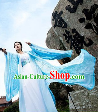 Chinese Traditional Ancient Blue Fairy Costumes for Women