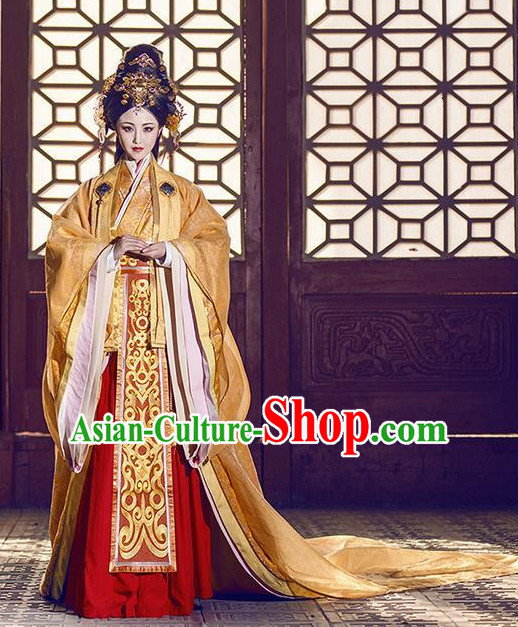 Chinese Traditional Princess Hanfu Clothing Empres Garment and Hair Accessories Complete Set for Women