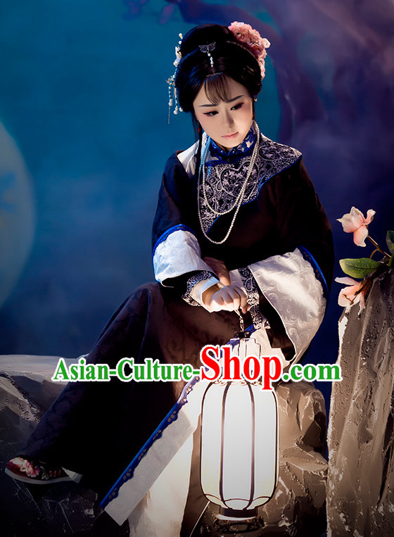 Chinese Qing Dynasty Hanfu Clothing Mandarin Dresses and Hair Accessories Complete Set for Women
