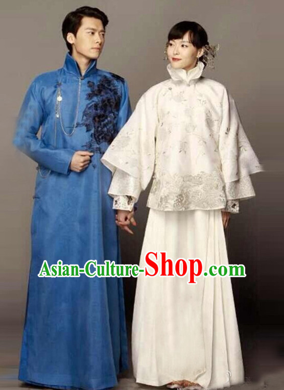 Top Chinese Minguo Clothing Theater and Reenactment Costumes Mandarin Chinese Clothes Complete Set for Men and Women
