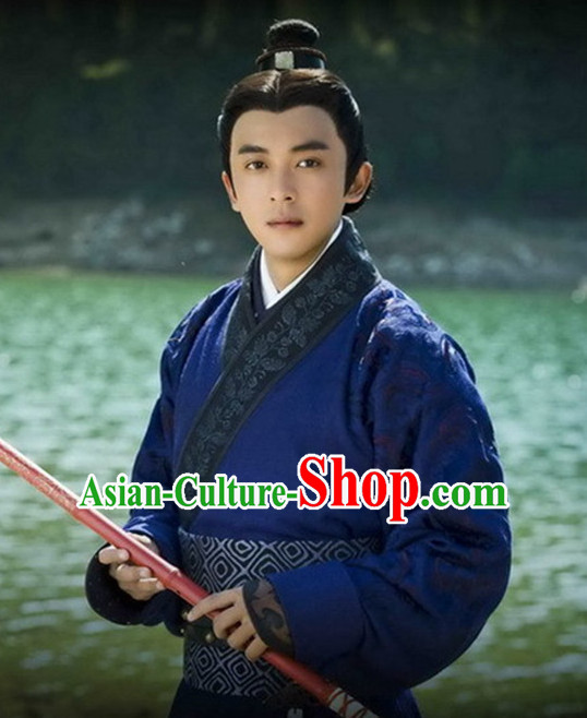 Ancient Chinese Men's Clothing _ Apparel Chinese Traditional Dress Theater and Reenactment Costumes Complete Set for Men