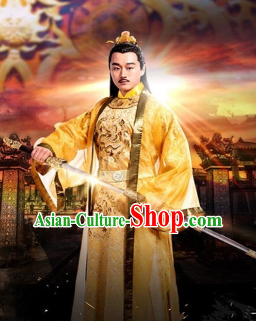 Ancient Chinese Emperor Men's Clothing _ Apparel Chinese Traditional Dress Theater and Reenactment Costumes Complete Set for Men
