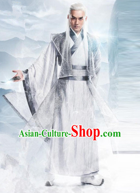 Ancient Chinese Guzhuang Men's Clothing _ Apparel Chinese Traditional Dress Theater and Reenactment Costumes Complete Set for Men