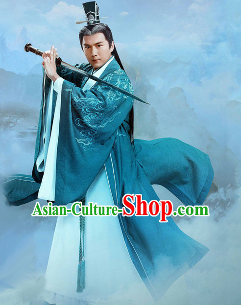 Ancient Chinese Men's Clothing _ Apparel Chinese Traditional Dress Theater and Reenactment Costumes and Coronet Complete Set for Men