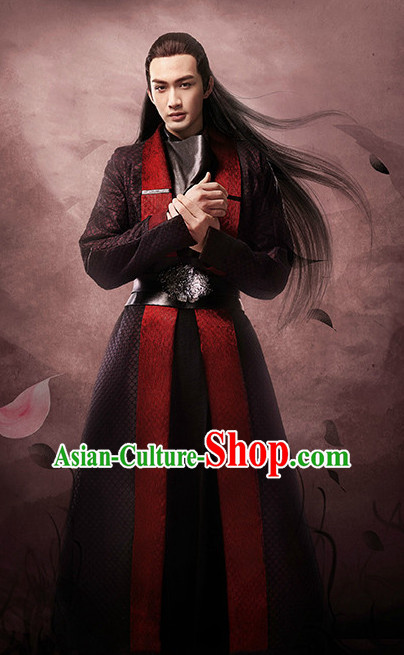 Ancient Chinese TV Drama Men's Clothing _ Apparel Chinese Traditional Dress Theater and Reenactment Costumes and Coronet Complete Set for Men