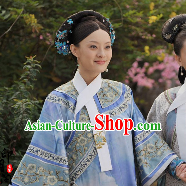 Ancient Chinese Qing Dynasty TV Drama Women's Clothing _ Apparel Chinese Traditional Dress Theater and Reenactment Costumes and Coronet Complete Set for Women