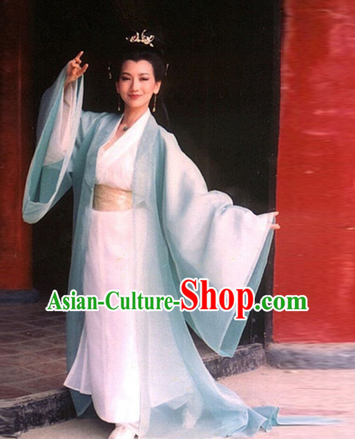Ancient Chinese TV Drama White Snake Film Women's Clothing _ Apparel Chinese Traditional Dress Theater and Reenactment Costumes and Coronet Complete Set