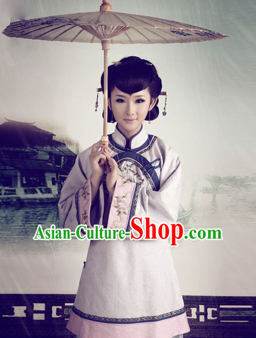 Chinese Minguo Women's Clothing _ Apparel Chinese Traditional Dress Theater and Reenactment Costumes and Coronet Complete Set
