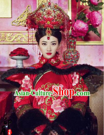 Chinese Empress Manchu Women's Wedding Bridal Clothing _ Apparel Chinese Traditional Dress Theater and Reenactment Costumes and Headwear Complete Set