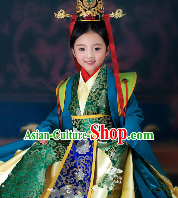Chinese Ancient Empress Kids's Clothing _ Apparel Chinese Traditional Dress Theater and Reenactment Costumes and Headwear Complete Set