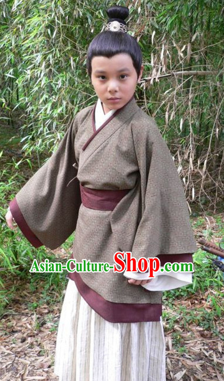 Chinese Ancient Hanfu Kids's Clothing _ Apparel Chinese Traditional Dress Theater and Reenactment Costumes and Hat Complete Set