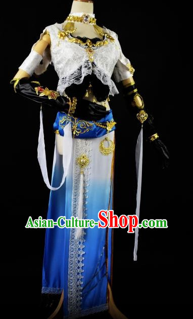 Chinese Traditional Stage Performance Hanfu Cosplay Princess Costume Chinese Cosplay Hanfu Halloween Costume Party Costume Fancy Dress