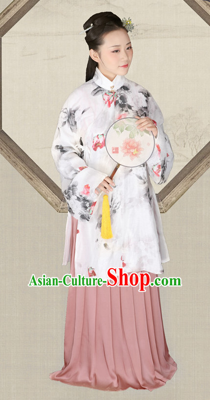 Chinese Ming Dynasty Hanfu Dress China Hanfu Costume Histroical Dresses Traditional Hanfu Wedding Ceremony Chinese Culture Clothing Complete Set