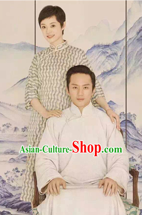 Top Chinese Traditional Men and Women's Clothing _ Apparel Chinese Traditional Dress Theater and Reenactment Costumes Complete Set