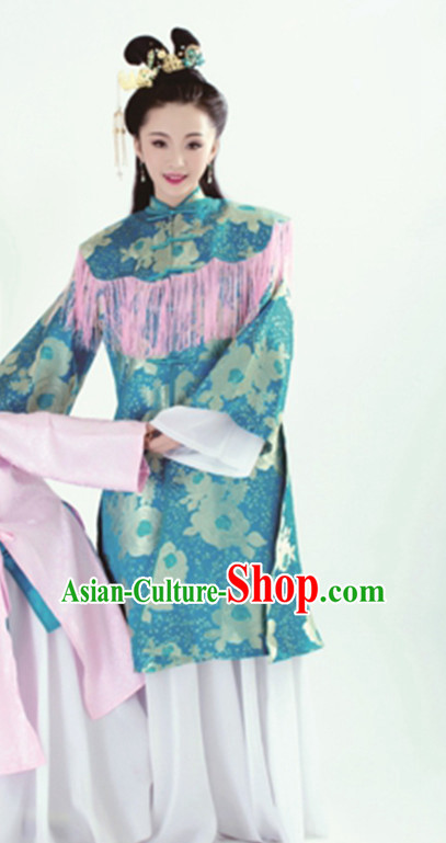 Ancient Chinese Hanfu Dress Hanbok Kimono Cosplay Costume Traditional Dresses and Headpieces Complete Set