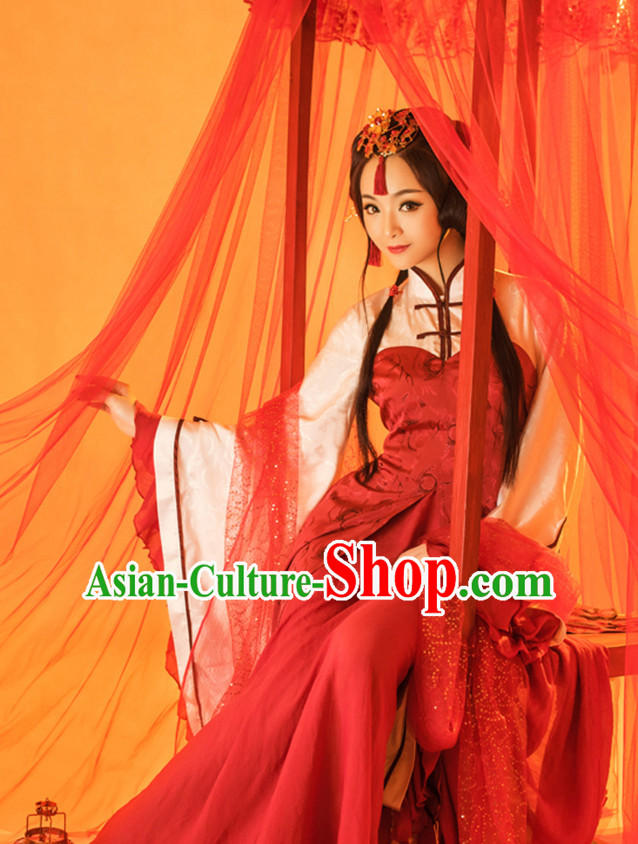 Ancient Chinese Bride Girls Lady Hanfu Dress Hanbok Kimono Cosplay Costume Traditional Dresses and Headpieces Complete Set