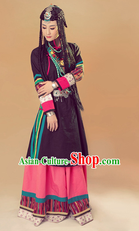 Minority Tibet Tibetan Clothing Ethnic Clothes Complete Set for Women
