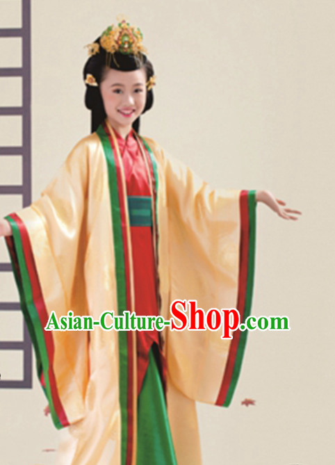 Ancient Chinese Princess Dress Empress Costumes and Headpieces Complete Set for Child