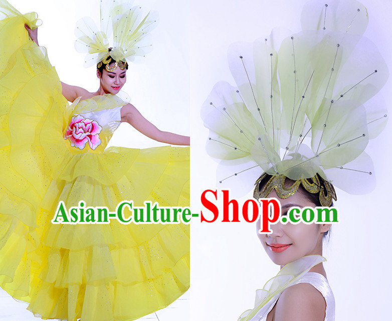 Yellow Chinese Flower Dance Costume Dance Costumes Fan dance Umbrella Ribbon Fans Water Sleeve Dancer Dancing Costumes Complete Set